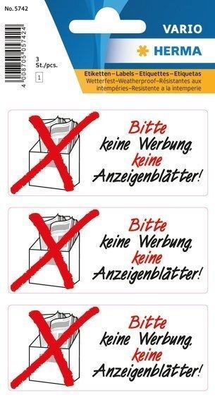 HERMA 5742 Hinweisetiketten Keine Werbung Anzeigenblätter wetterfest 30 Stück