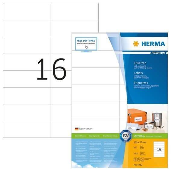 HERMA 4462 Etiketten Premium A4 105x37 mm weiß Papier matt 1600 Stück