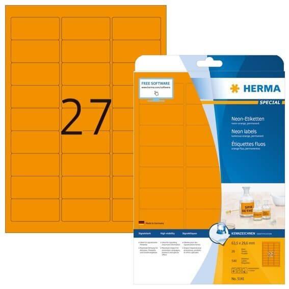 HERMA 5141 Neonetiketten A4 635x296 mm neon-orange Papier matt 540 Stück