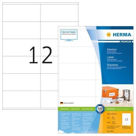 HERMA 4635 Etiketten Premium A4 105x48 mm weiß Papier matt 2400 Stück