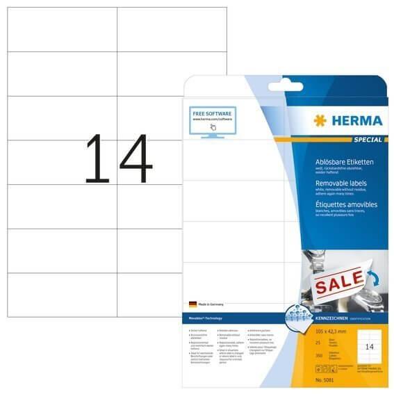 HERMA 5081 Ablösbare Etiketten A4 105x423 mm weiß Movables/ablösbar Papier matt 350 Stück