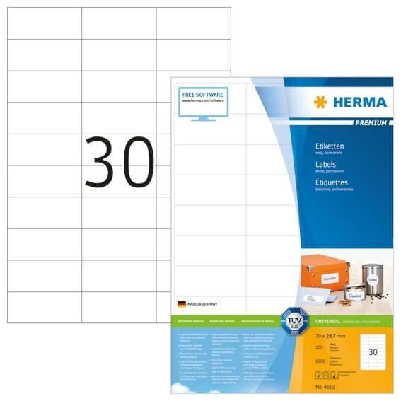 HERMA 4612 Etiketten Premium A4 70x297 mm weiß Papier matt 6000 Stück