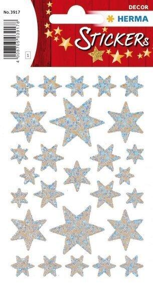 HERMA 3917 10x Sticker DECOR Sterne 6-zackig silber/irisierende Folie