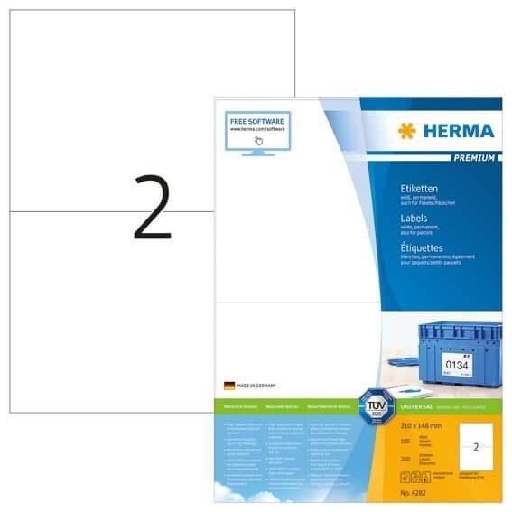 HERMA 4282 Etiketten Premium A4 210x148 mm weiß Papier matt 200 Stück