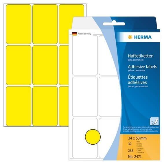 HERMA 2471 Vielzwecketiketten 34 x 53 mm Papier matt Handbeschriftung 288 Stück Gelb