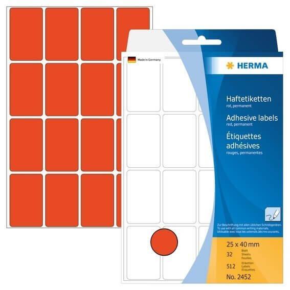 HERMA 2452 Vielzwecketiketten 25 x 40 mm Papier matt Handbeschriftung 512 Stück Rot
