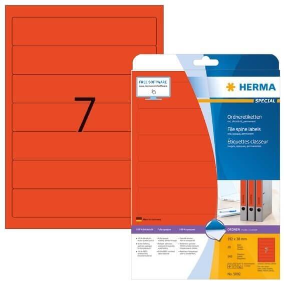 HERMA 5092 Ordneretiketten A4 192x38 mm rot Papier matt blickdicht 140 Stück
