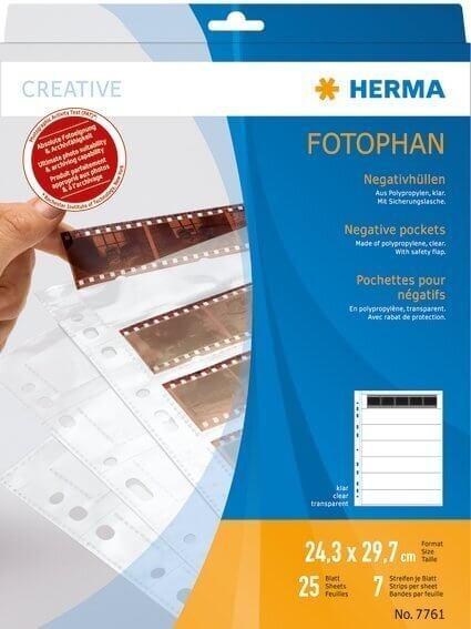 HERMA 7761 Negativhüllen transparent für 7 x 5 Streifen 25 Stück