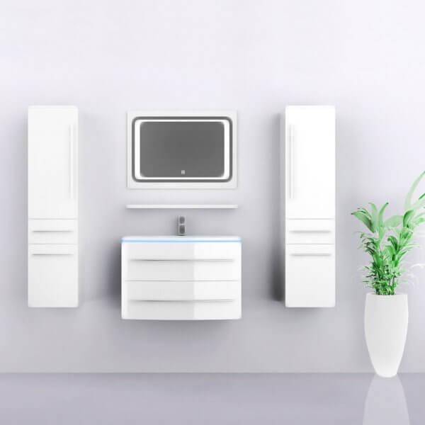 Midori Badmöbel Set Hochschränke Spiegel Weiß Hochglanz 70 cm