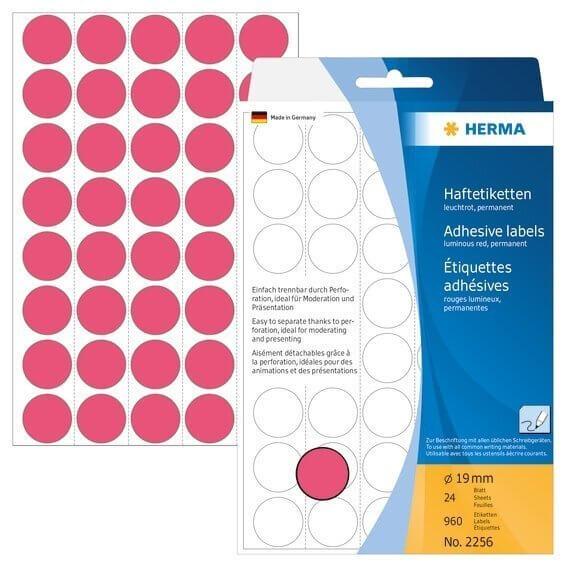 HERMA 2256 Vielzwecketiketten/Farbpunkte Ø 19 mm rund Papier matt Trägerpapier perforiert 960 Stück