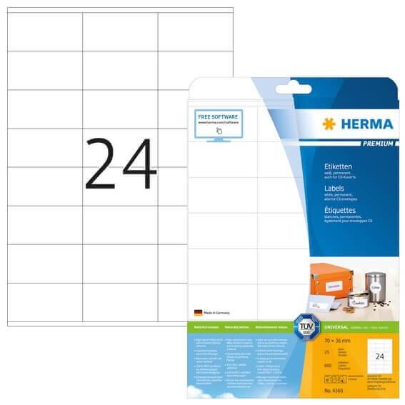 HERMA 4360 Etiketten Premium A4 70x36 mm weiß Papier matt 600 Stück