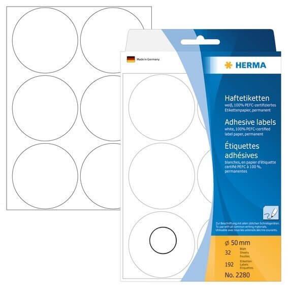 HERMA 2280 Vielzwecketiketten/Farbpunkte Ø 50 mm rund Papier matt Handbeschriftung 192 Stück Weiß