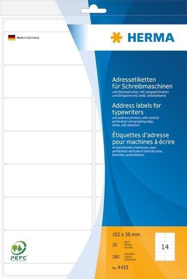 HERMA 4433 Adressetiketten für Schreibmaschinen A4 102x38 mm Papier matt Ecken rund 280 Stück