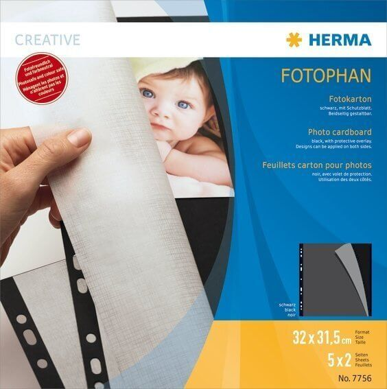 HERMA 7756 Fotokarton 320x315 mm schwarz 5 Blatt