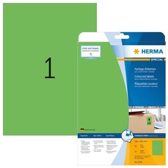 HERMA 4424 Farbige Etiketten A4 210x297 mm grün ablösbar Papier matt 20 Stück