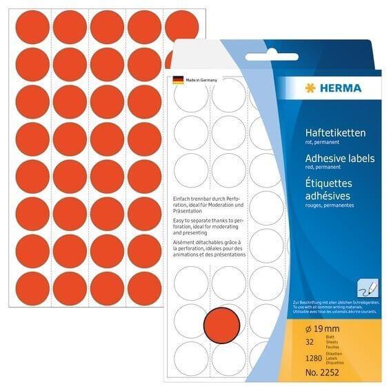 HERMA 2252 Vielzwecketiketten/Farbpunkte Ø 19 mm rund Papier matt Trägerpapier perforiert 1280 Stück