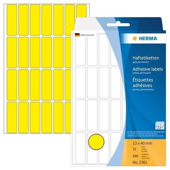 HERMA 2361 Vielzwecketiketten 13 x 40 mm Papier matt Handbeschriftung 896 Stück Gelb