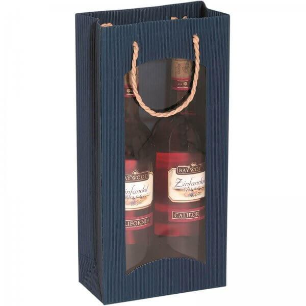 Geschenk-Flaschentasche für 2 Weinflaschen mit Sichtfenster Saphir