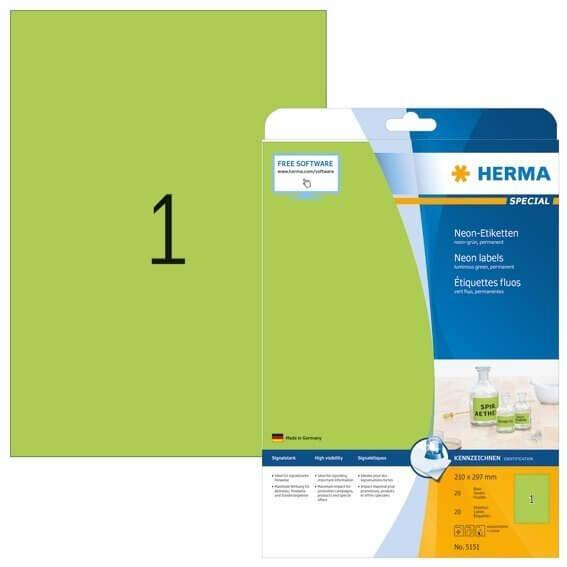 HERMA 5151 Neonetiketten A4 210x297 mm neon-grün Papier matt 20 Stück