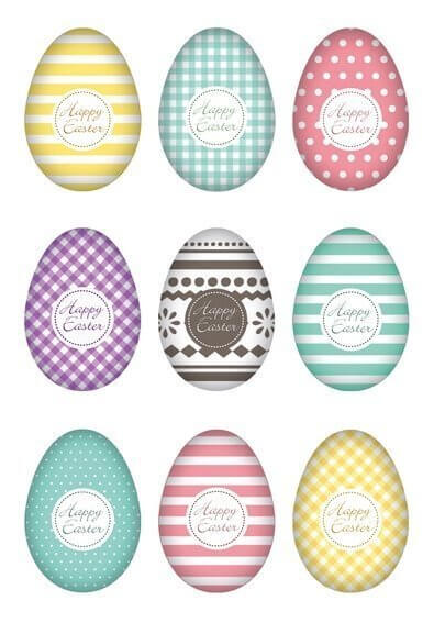 HERMA 1728 10 x Sticker DECOR Happy Easter Eierset Bunt