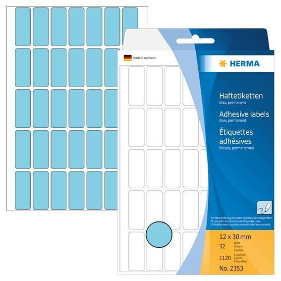 HERMA 2353 Vielzwecketiketten 12 x 30 mm Papier matt Handbeschriftung 1120 Stück Blau