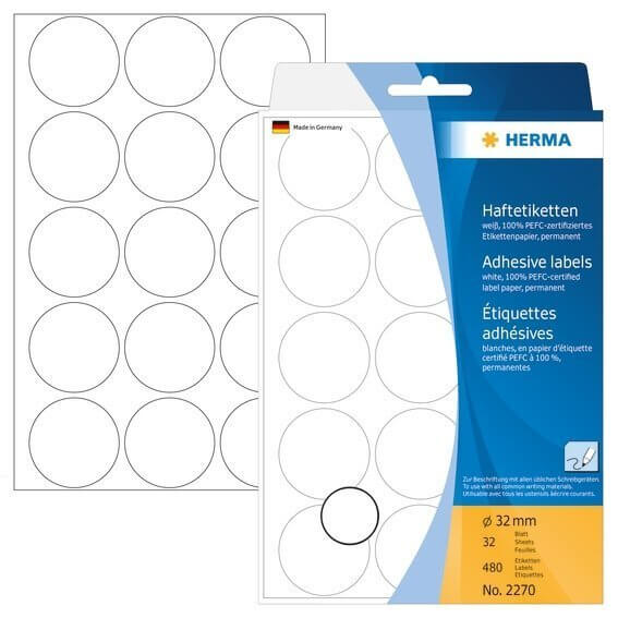 HERMA 2270 Vielzwecketiketten/Farbpunkte Ø 32 mm rund Papier matt Handbeschriftung 480 Stück Weiß