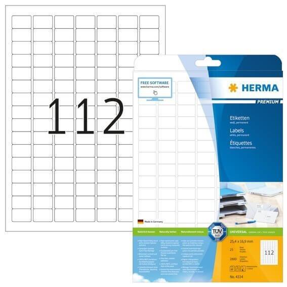 HERMA 4334 Etiketten Premium A4 254x169 mm weiß Papier matt 2800 Stück