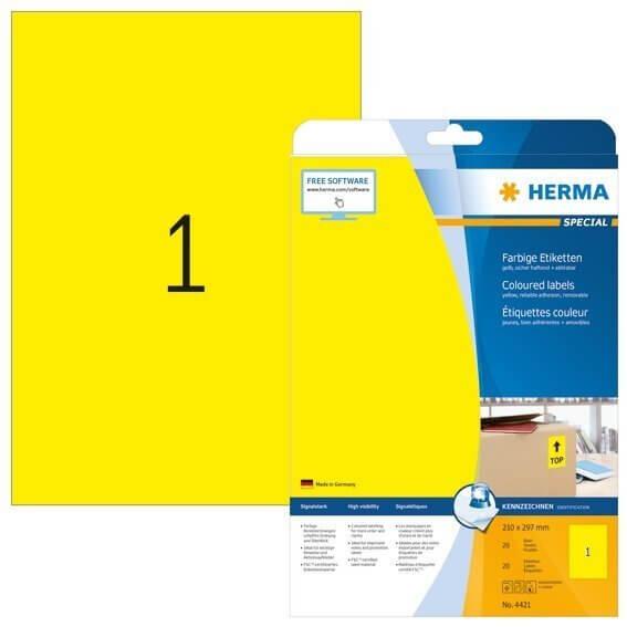 HERMA 4421 Farbige Etiketten A4 210x297 mm gelb ablösbar Papier matt 20 Stück
