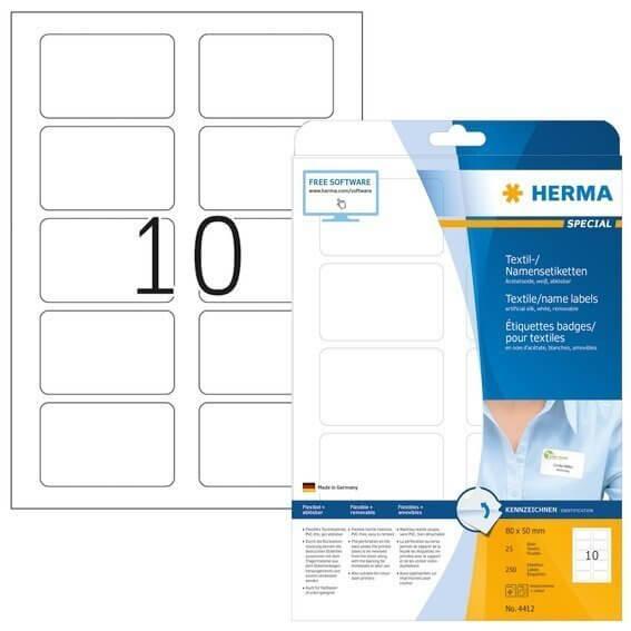 HERMA 4412 Namens-/Textiletiketten A4 80x50 mm trennbar weiß ablösbar Acetatseide 250 Stück
