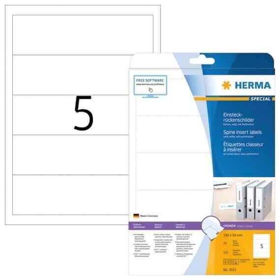 HERMA 5032 Einsteckrückenschilder A4 190x54 mm weiß Karton perforiert nicht klebend 125 Stück