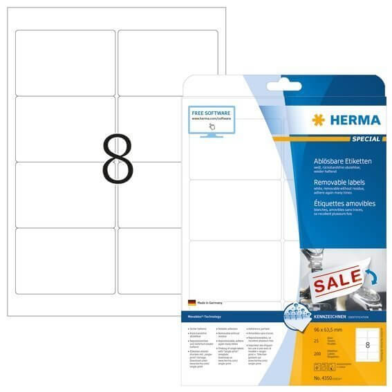 HERMA 4350 Ablösbare Etiketten A4 96x635 mm weiß Movables/ablösbar Papier matt 200 Stück