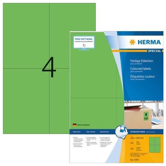 HERMA 4399 Farbige Etiketten A4 105x148 mm grün Papier matt 400 Stück