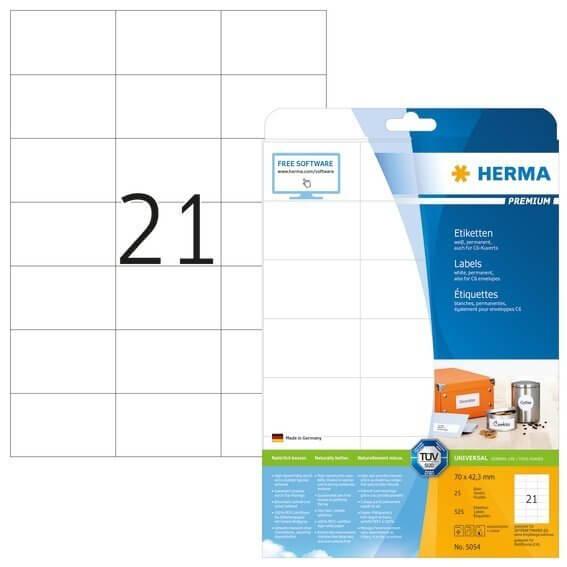HERMA 5054 Etiketten Premium A4 70x423 mm weiß Papier matt 525 Stück
