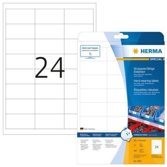 HERMA 4691 Etiketten strapazierfähig A4 66x338 mm weiß stark haftend Folie matt wetterfest 600 Stück