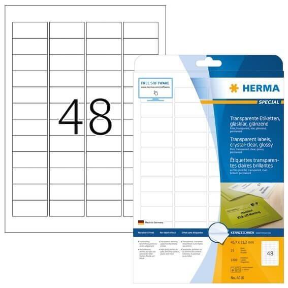 HERMA 8016 Etiketten transparent glasklar A4 457x212 mm transparent klar Folie glänzend 1200 Stück