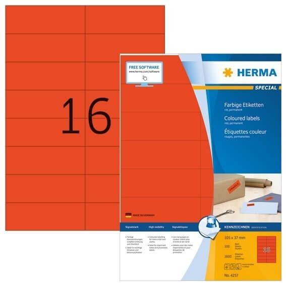 HERMA 4257 Farbige Etiketten A4 105x37 mm rot Papier matt 1600 Stück