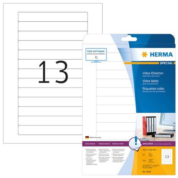 HERMA 5069 Video-Etiketten A4 1473x20 mm weiß Papier matt 325 Stück