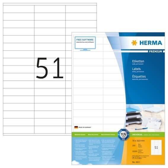 HERMA 4611 Etiketten Premium A4 70x169 mm weiß Papier matt 10200 Stück