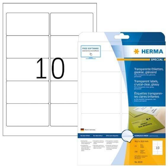 HERMA 8018 Etiketten transparent glasklar A4 96x508 mm transparent klar Folie glänzend 250 Stück