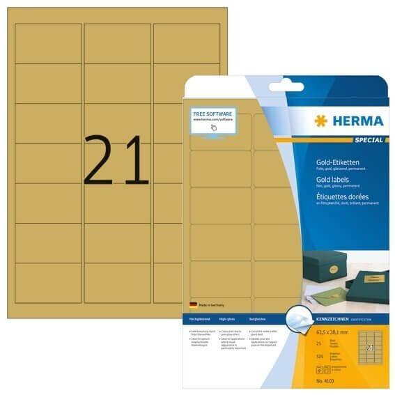 HERMA 4103 Etiketten A4 63,5x38,1 mm gold Folie glänzend 525 Stück