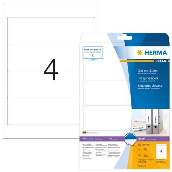 HERMA 5123 Ordneretiketten A4 192x59 mm weiß Papier matt blickdicht 100 Stück