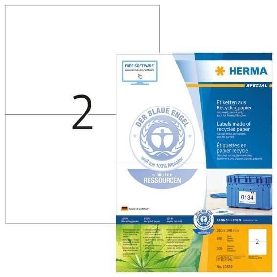 HERMA 10832 Etiketten A4 210x148 mm weiß Recyclingpapier matt Blauer Engel 200 Stück