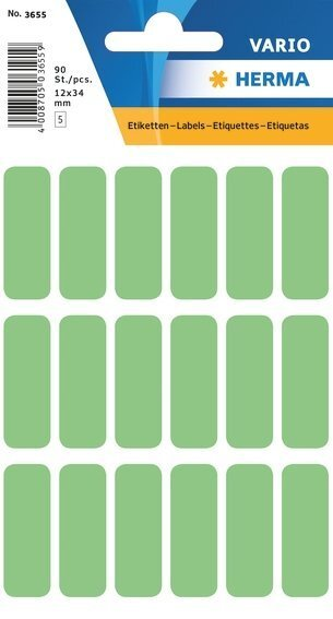 HERMA 3655 Vielzwecketiketten 12x34 mm grün Papier matt 900 Stück