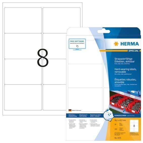 HERMA 4575 Wetterfeste Folien-Etiketten A4 991x67 mm ablösbar weiß matt strapazierfähig 160 Stück