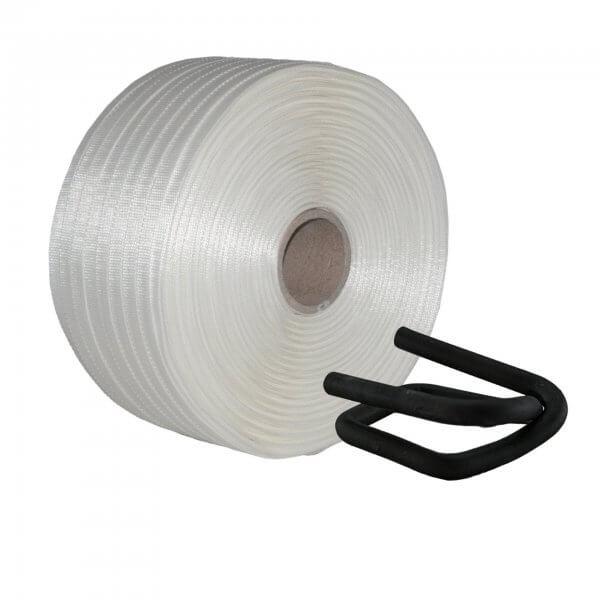 Umreifungsset 16 mm Textil gewebt Metallklemmen phosphatiert