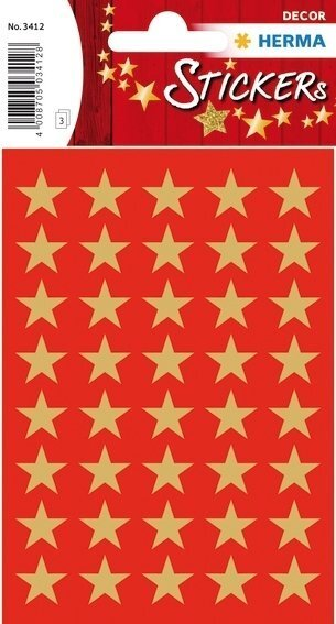 HERMA 3412 10x Sticker DECOR Sterne 5-Zackig gold Ø 13 mm