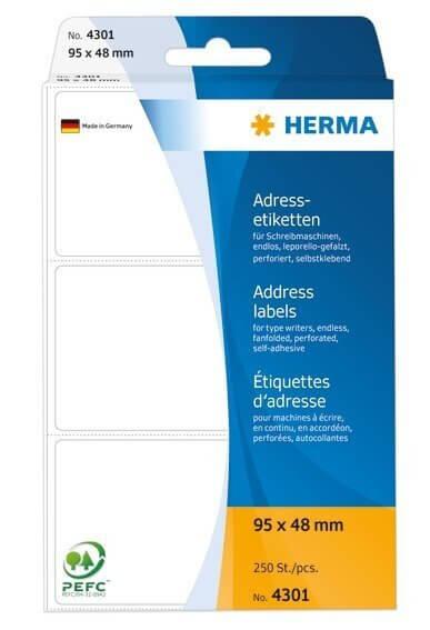 HERMA 4301 Adressetiketten für Schreibmaschinen endlos leporello-gefalzt 95x48 mm weiß Papier matt 2