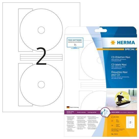 HERMA 5115 CD-Etiketten Maxi A4 Ø 116 mm weiß Papier matt blickdicht 50 Stück