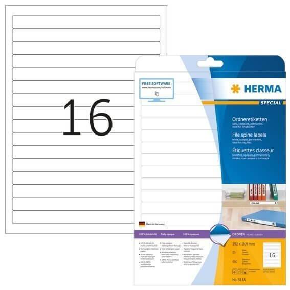 HERMA 5118 Ordneretiketten A4 192x169 mm weiß Papier matt blickdicht 400 Stück