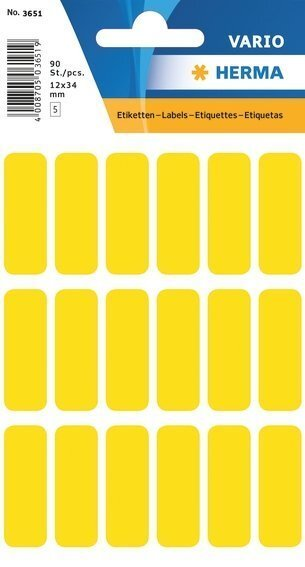 HERMA 3651 Vielzwecketiketten 12x34 mm gelb Papier matt 900 Stück